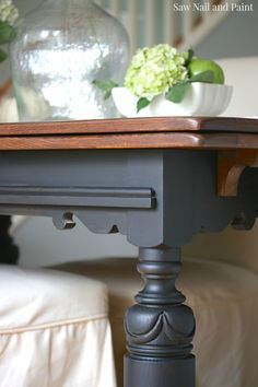 draw leaf table in lamp black and java refinished - Refinish Table