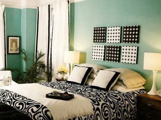 Mint white an black accented cute teen girl bedroom cute for Black and white girls bedroom ideas