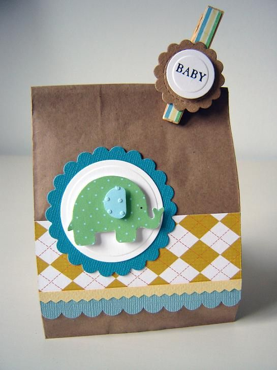 Gift bag with different paper and cricut shapes
