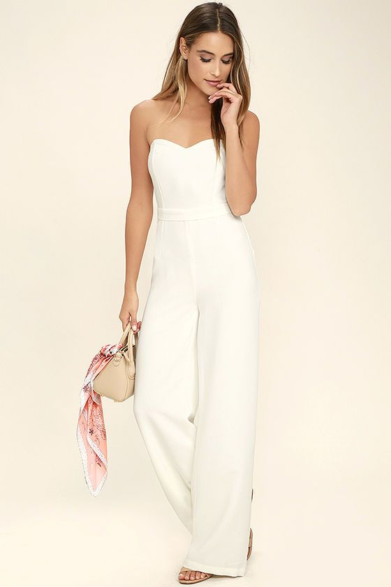 f95f7a07629c Let the Pop Life White Strapless Jumpsuit be your new dance partner!  Medium-weight