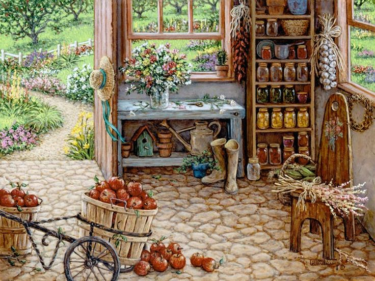 Gardening Room, a painting by Janet Kruskamp of an outdoor gardening room with cobblestone floor, the perfect storage for baskets of apples and canned fruits and vegetables stored in jars on the shelves. A rope of Garlic hangs on the wall and gardening tools and a freshly made bouquet of flowers round out the scene. An Interior and Exterior Scenes Paintings Gallery of original oil paintngs by Janet Kruskamp.