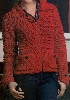 Talle: M MATERIALES: 550 g de fibra acrílica finita tejida doble, en color rojo. Aguja de crochet № 3 1/2. 1 cierre desmontable en color n...