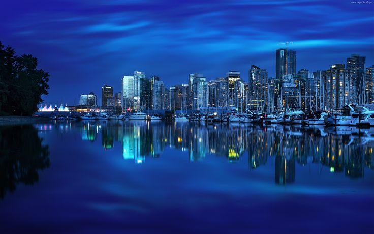Miasto, Nocą, Kanada, Vancouver