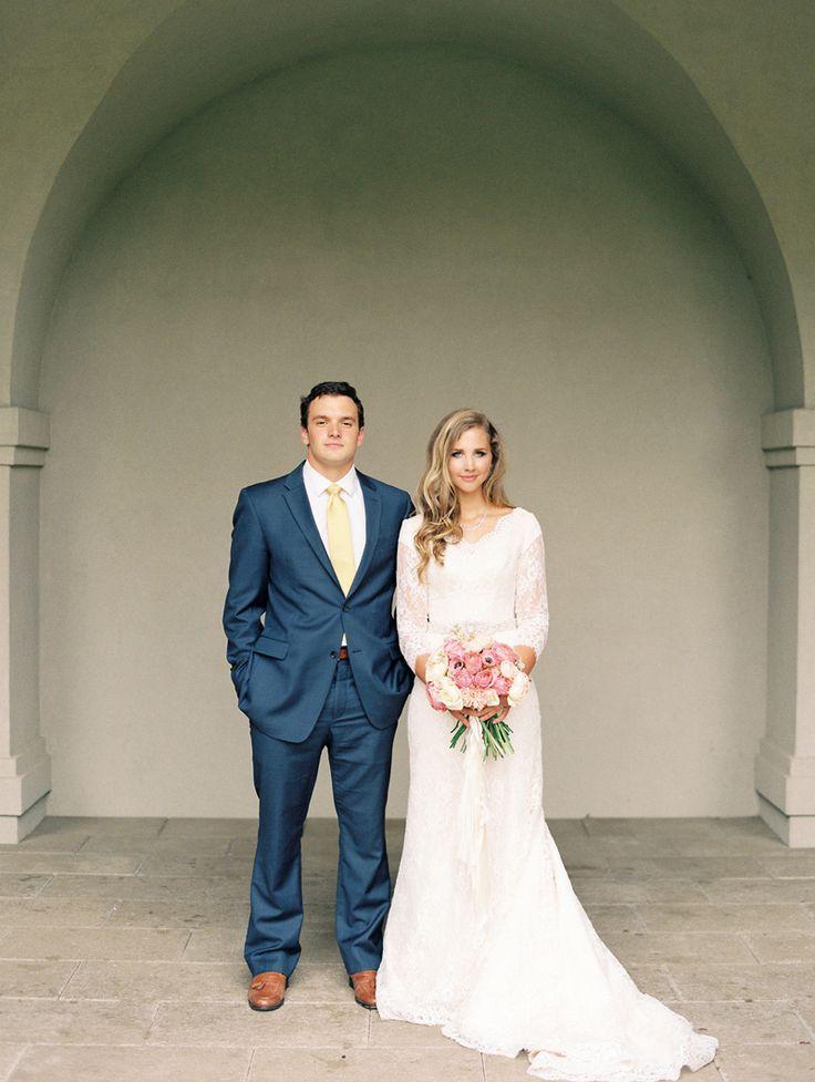 Modest wedding dress with three quarter sleeves and a for Three quarter wedding dresses