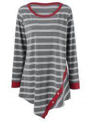 Plus Size Button Embellished Asymmetrical T-Shirt - STRIPE 3XL