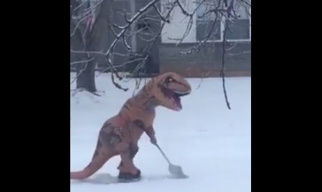 Meet the Hero Shoveling Snow in a Dinosaur Costume