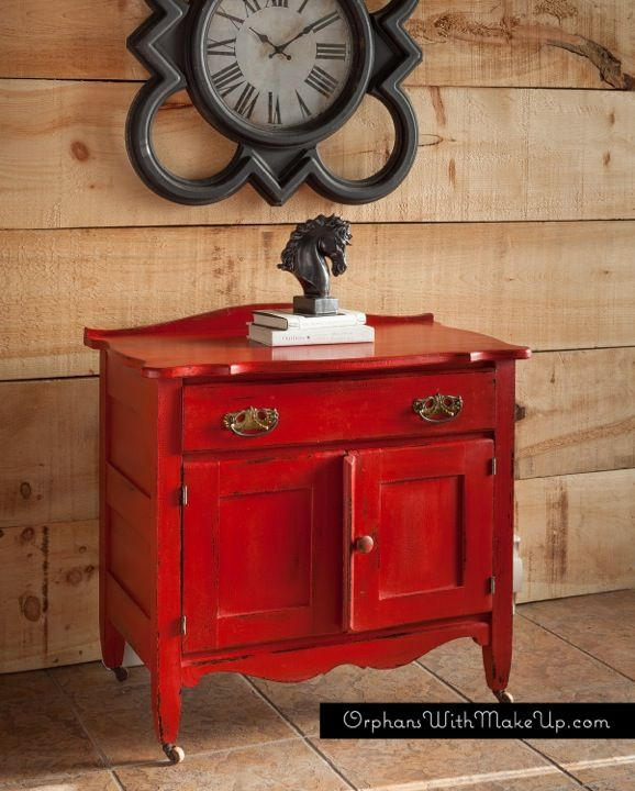 """A POP OF RED Antique Wash Stand painted with Chalk Paint® decorative paint by Annie Sloan in """"Emperor's Silk Red"""". February 23, 2014."""