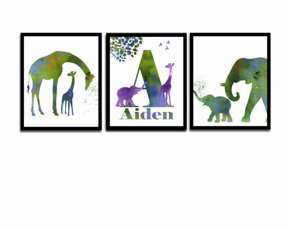 Personalized Nursery Art Elephant Nursery Art Giraffe by DaniJArts