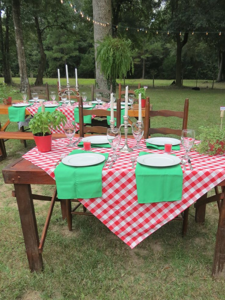 Italian Themed Rehearsal Dinner by It's Personal...Wedding Staging and Design.  That's Amore!!!  Backyard Italian Themed Rehearsal DInner