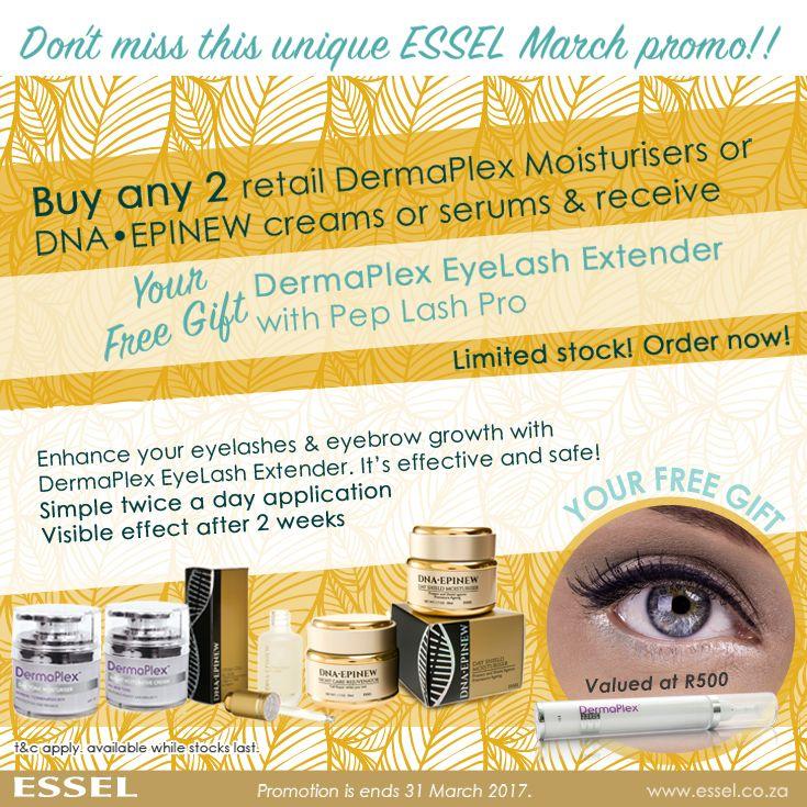 Essel March #Promotion: Buy any 2 retail DermaPlex Moisturisers or DNA•EPINEW creams or serums & receive DermaPlex EyeLash Extender with Pep Lash Pro #freegift