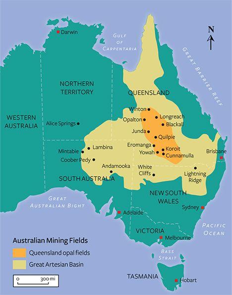 Map of Australian opal deposits