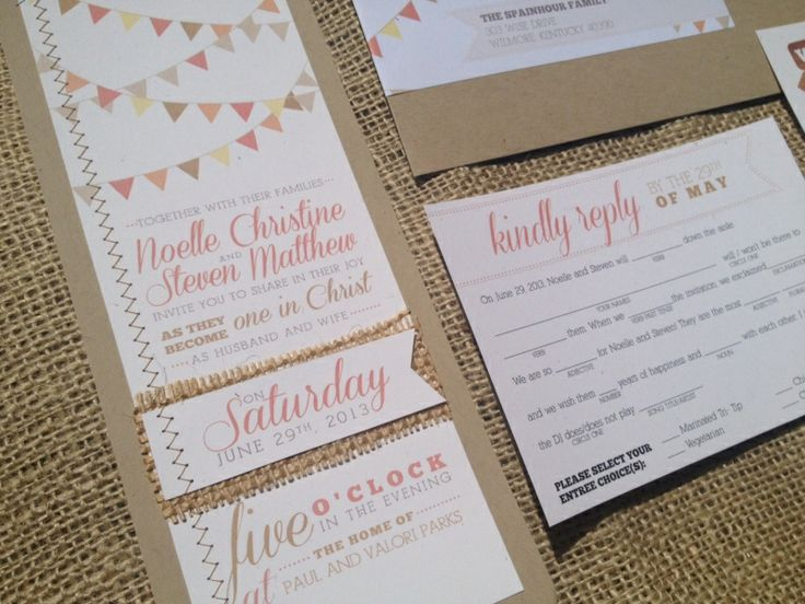 Items Similar To Bunting Calligraphy Wedding Invitation MadLibs Coral  Pennant Kraft Burlap Sewn Rustic Woodland Country Shabby Chic Barn Cowboy  Button ...