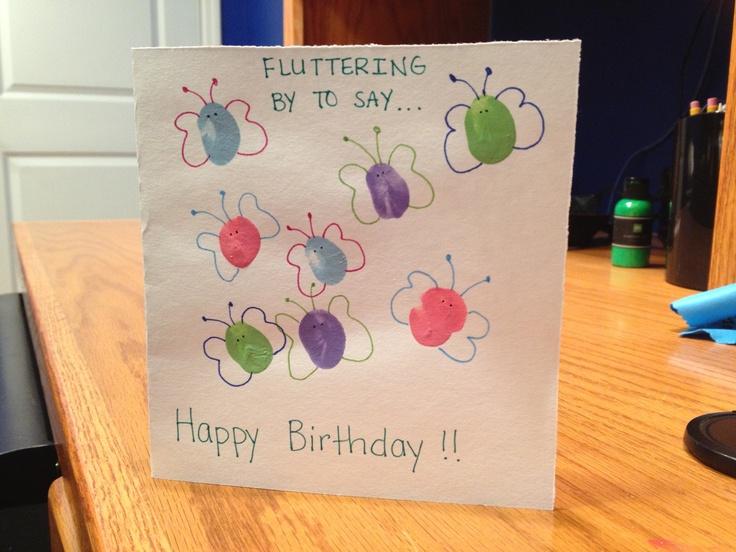 thumbprint butterfly birthday card