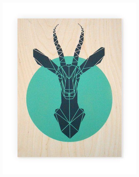 Geometric Animal Art, Large Gazelle on Plywood. Handmade. Stencil Art. Faux Taxidermy. Geometric. Origami Deer. Original Art