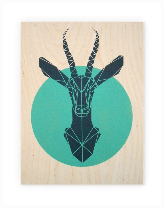 Geometric Animal Art Large Gazelle on Plywood. by Stencilize, €50.00