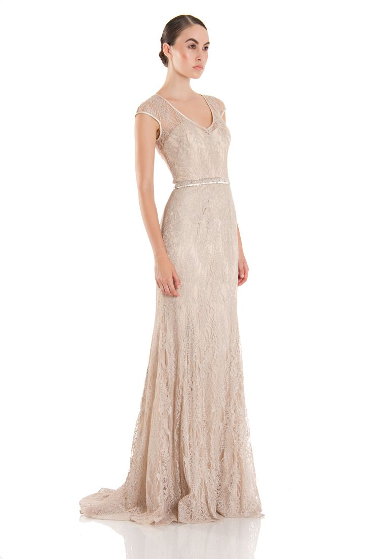THEIA #Resort2014 - 881881 - Champagne cap sleeve, V-neck lace gown ...