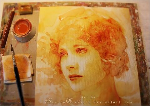 'In Her Eyes' Watercolor painting by Aurorawienhold. And all of this is done with one color