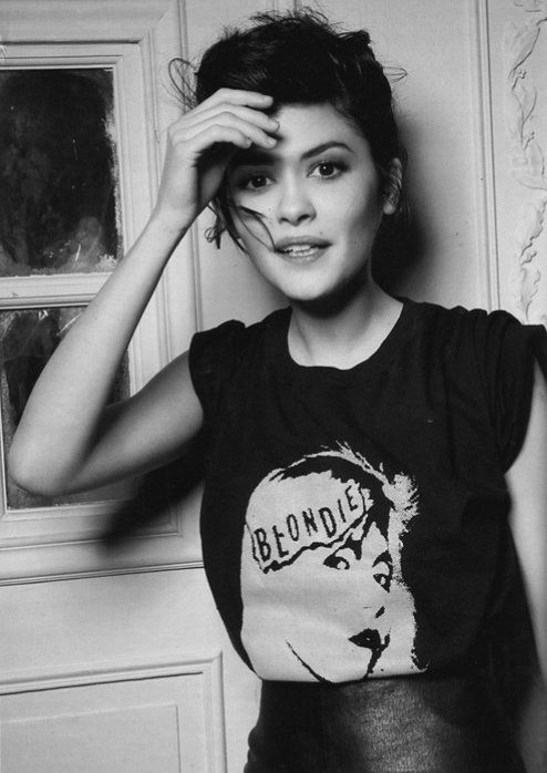 Audrey Tautou. Love that Blondie t-shirt
