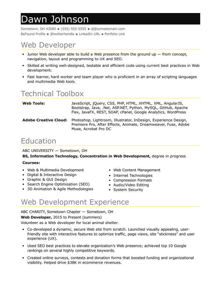 If Your Web Sites Sizzle But Your Resume Fizzles Check Out This Resume Sample For An Entry Level Web Developer Web Developer Resume Job Resume Examples Resume Template
