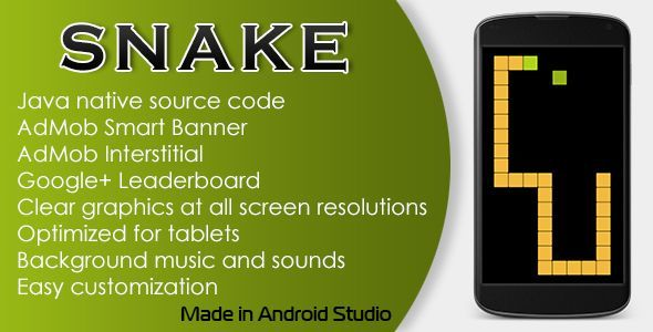Snake Game with AdMob and Leaderboard . Classic Snake Game. Long touch make a pause.