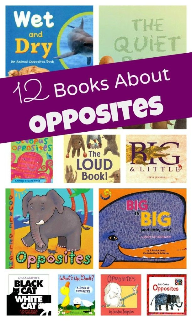 12 Books About Opposites- by shaunna evans We had a huge stack of books for our O is for Opposites theme. Some were from the library, and others are part of our personal collection. I have included our favorites in the list below.