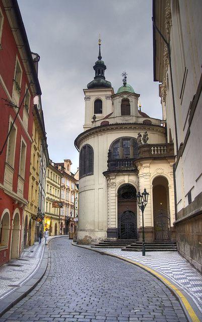Prague - street leading to the Charles Bridge