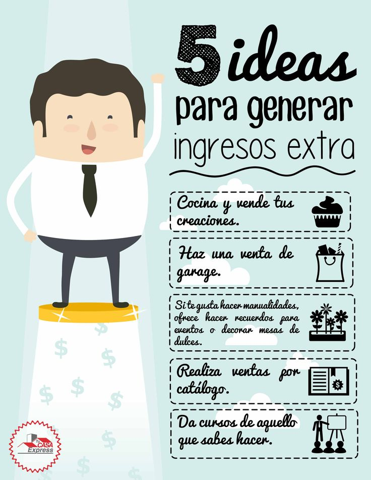 5 ideas para genera ingresos extras. #TipsExpress