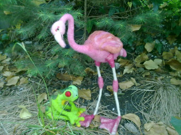 Needle Felted Pink Flamingo Bird Figurine Soft Sculpture