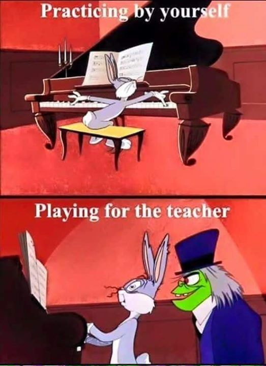 Bugs Bunny | Piano | Funny | Practicing by yourself vs Playing for the teacher | Cartoon