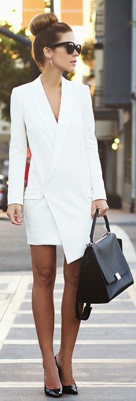 Spring street style | White blazer dress