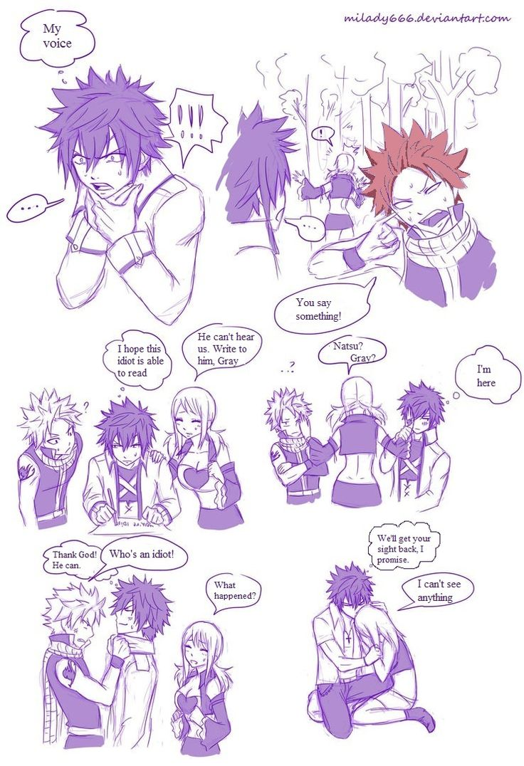Gray can't talk, Natsu can't hear, and Lucy can't see