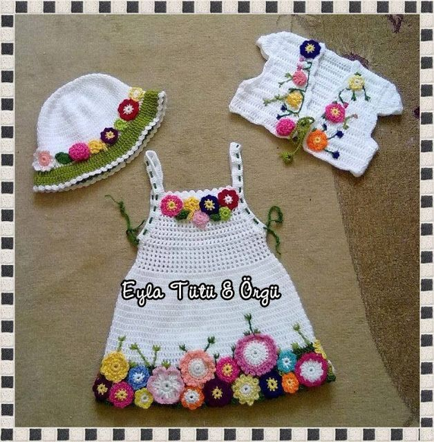 "DE MIS MANOS TEJIDOS Y MAS...: Vestido para nenas [   ""Cute white baby girl dress, bolero & hat w/ colourful flower ornaments"",   ""I love this set. I wish I could find the pattern."",   ""photo inspiration only"" ] #<br/> # #Baby #Girl #Dresses,<br/> # #Baby #Dress,<br/> # #Dresses #For #Girls,<br/> # #Baby #Girls,<br/> # #Crochet #Children,<br/> # #Crochet #Bebe,<br/> # #Crochet #Ideas,<br/> # #Crochet #Patterns,<br/> # #Fabrics<br/>"