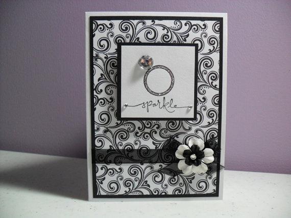 Handmade Engagement Card - Sparkle - Congratulations
