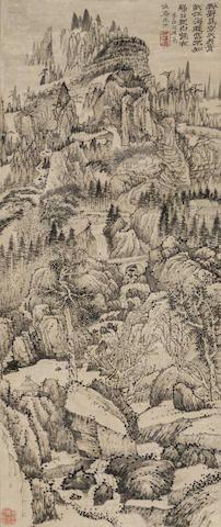 Shi Tao (1642-1707) Landscape Inspired by Li Bai's Poem Ink on paper, hanging scroll Inscribed and signed Shi Tao Ji, with two seals of the artist 98cm × 41cm (38½in × 16in). 石濤(1642-1707) 李白詩意山水 水墨紙本 立軸 款識:粉壁為空天,丹青狀江海。遊雲不知歸,日見白鶴在。李白句,用為慎安先生。石濤濟。 鈐印:老濤、四百峰中箬笠翁圖畫