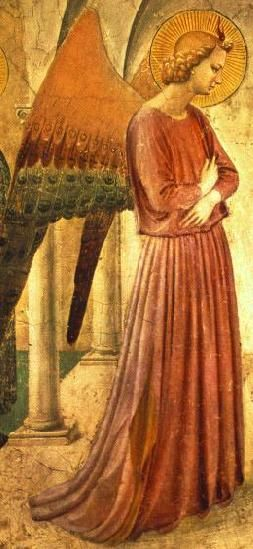 Angel painted by early Renaissance artist Fra Angelico.  This site has pictures of many of his angel paintings.