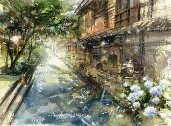Toshiro Kamezaki Le Japon En Aquarelle Watercolor Landscape