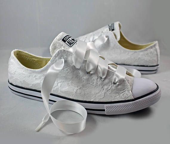 Bridal Converses Lace Converse Wedding Tennis Shoes Wedding Converse Converse Hochzeit Schuhe Hochzeit Hochzeit Schuhe Flach