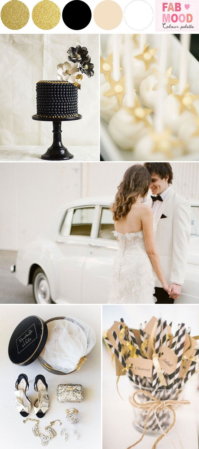 Black White Gold Wedding Colors | http://fabmood.com/black-white-gold-glam-wedding/
