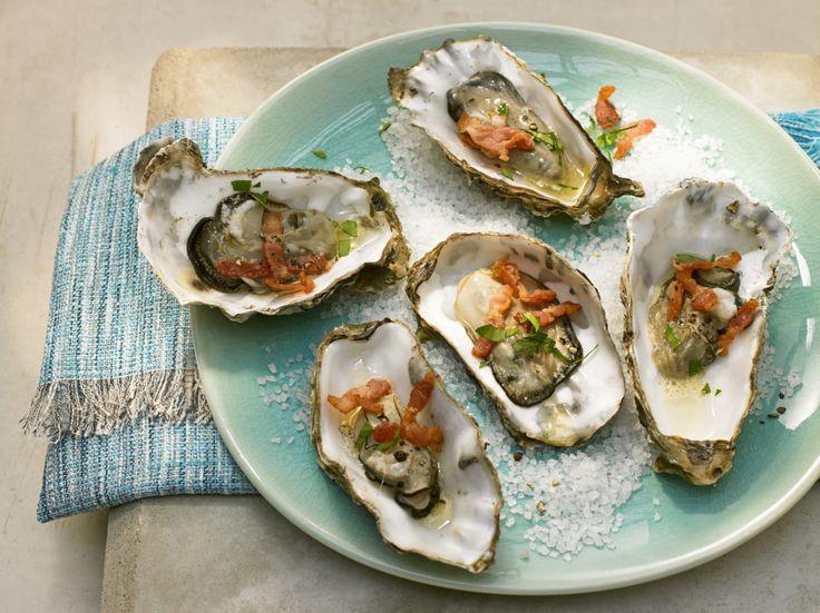 Gegrilde oesters met spekjes