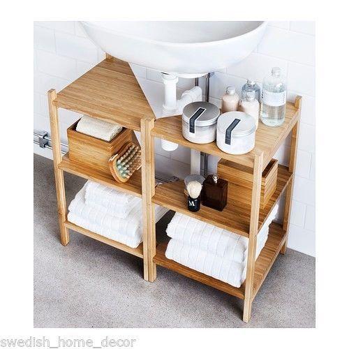 10 Amazing Ideas To Utilize The Space Under The Sink For Storage: Ikea RÅGRUND Sink Shelf Corner Shelf Bamboo Bath Storage