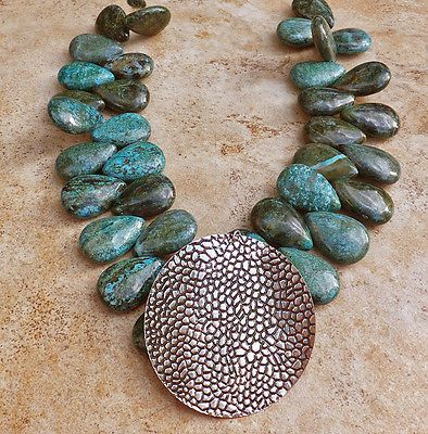 24 best jewelry images on pinterest jewelery jewerly and azurite malachite necklace turquoise beads blue green big silver pendant jewelry aloadofball Images