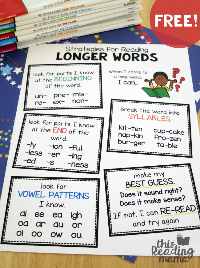 FREE Strategies for Reading Longer Words Pack - Student Page & Wall Charts in color & blackline! (Updated)-This Reading Mama