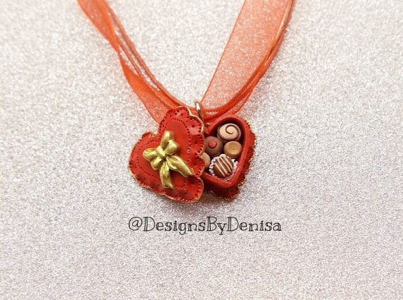 Handcrafted MINIATURE Chocolate Filled Heart by DesignsByDenisa