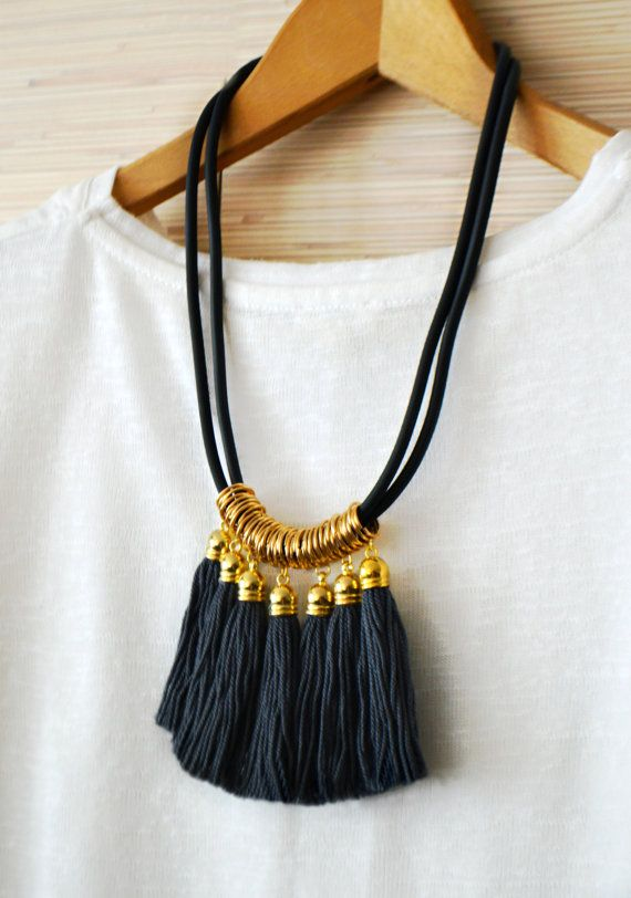 Gold statement necklace ♥ Tassel necklace ♥ Fringe necklace ♥ Green tribal necklace ♥ Gold fringe jewelry ♥ Boho chic necklace ♥ Valentines day gift  Beautiful fringe necklace in green, gold and black. Made of long cotton tassels and soft black rubber. Available in green, grey and black. NEW COLORS WILL BE LISTED SOON.  ♥ Heartmade item ♥  It is long approx. 19.6 inches (50cm). Tassels are long approx. about 2.9 inches (7.5cm). If you have special size requirements, please send me a convo…