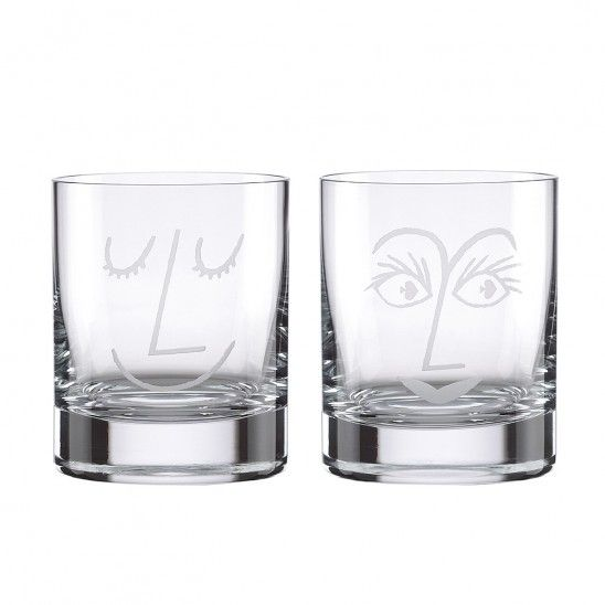 Kate Spade Two of a Kind Bar Belles Double old Fashion Glass Set