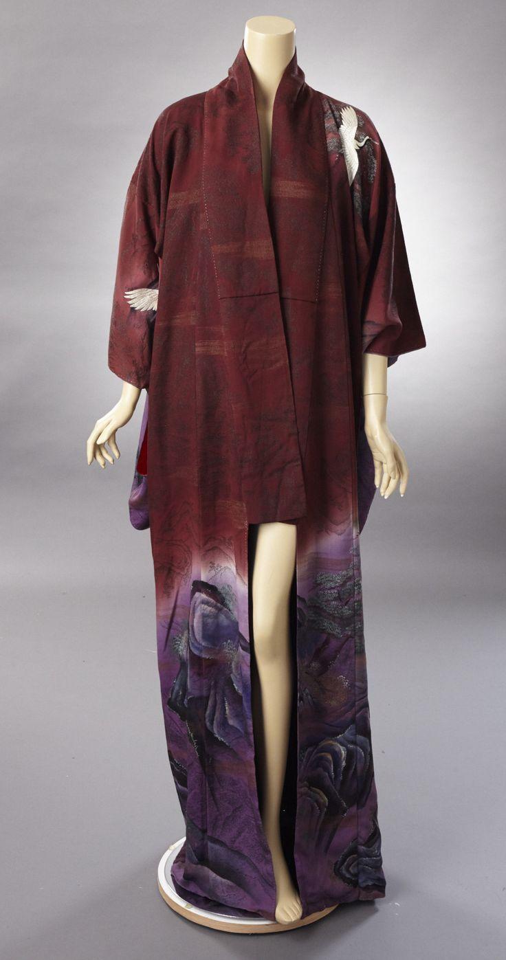 1940-50s Plum silk kimono with embroidered white and black cranes. Metallic…