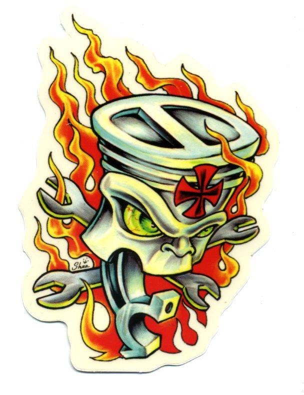 flaming piston sticker hot rod drag race tattoo kustom kulture