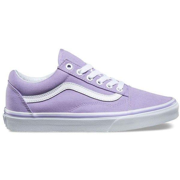 Vans Old Skool (314615 PYG) ❤ liked on Polyvore featuring shoes, sneakers, purple, skate shoes, vans trainers, lace up sneakers, laced shoes and low top skate shoes
