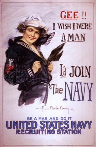 Vintage World War 1 Poster United States Navy recruiting by Howard Chandler Christy 1917. Poster showing a young woman in a Navy uniform. using an image of a cute girl in a US Navy uniform, text on this US Navy recruiting poster reads gee!! I wish I were a man I'd join the navy, be a man and do it, United States navy recruiting station;
