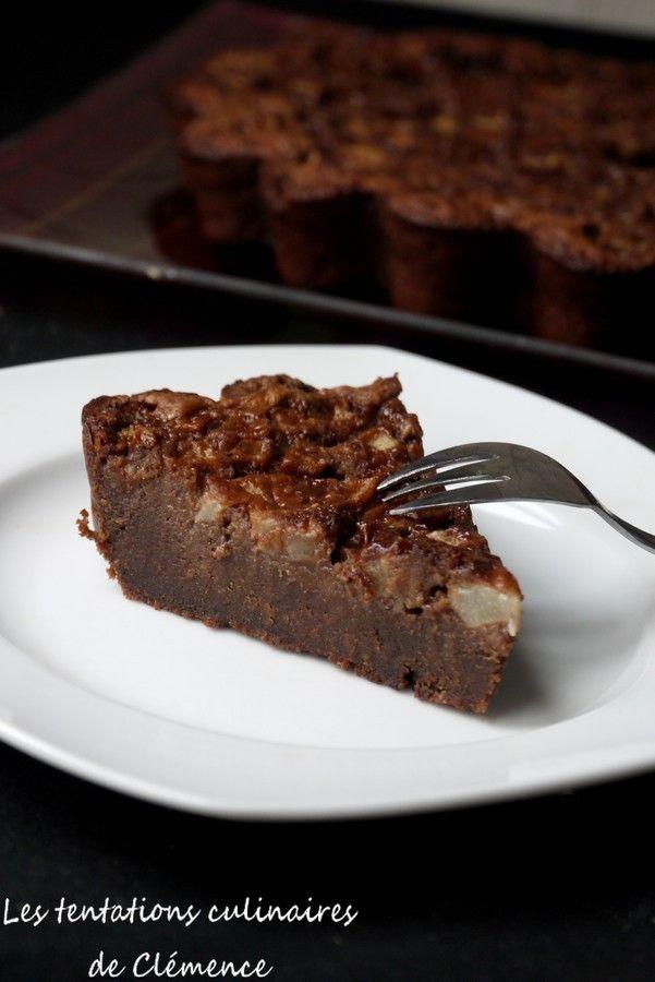 Gâteau chocolat, carambar et poire